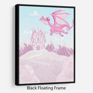 magic dragon on princess castle Floating Frame Canvas