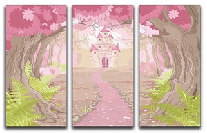magic fairy tale princess castle 3 Split Panel Canvas Print - Canvas Art Rocks - 1