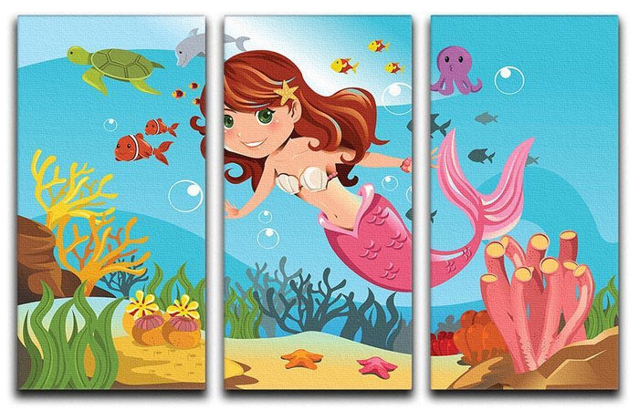 mermaid swimming underwater in the ocean 3 Split Panel Canvas Print