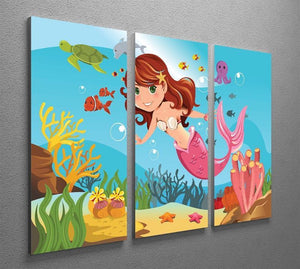 mermaid swimming underwater in the ocean 3 Split Panel Canvas Print - Canvas Art Rocks - 2