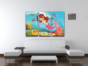 mermaid swimming underwater in the ocean 3 Split Panel Canvas Print - Canvas Art Rocks - 3
