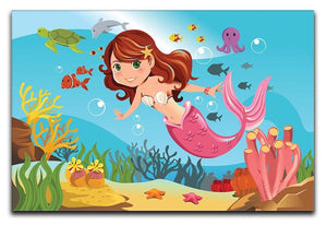 mermaid swimming underwater in the ocean Canvas Print or Poster  - Canvas Art Rocks - 1