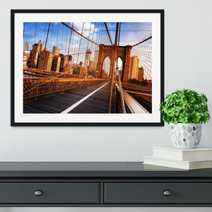 morning on the famous Brooklyn Bridge Framed Print - Canvas Art Rocks - 1
