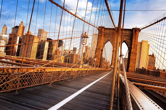morning on the famous Brooklyn Bridge Wall Mural Wallpaper
