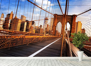 morning on the famous Brooklyn Bridge Wall Mural Wallpaper - Canvas Art Rocks - 4