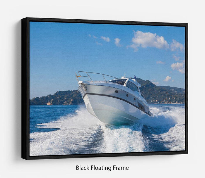 motor boat yachts Italy Floating Frame Canvas