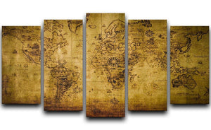 old map 5 Split Panel Canvas  - Canvas Art Rocks - 1