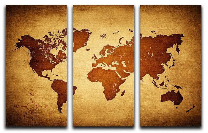old map of the world 3 Split Panel Canvas Print