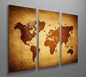 old map of the world 3 Split Panel Canvas Print - Canvas Art Rocks - 2