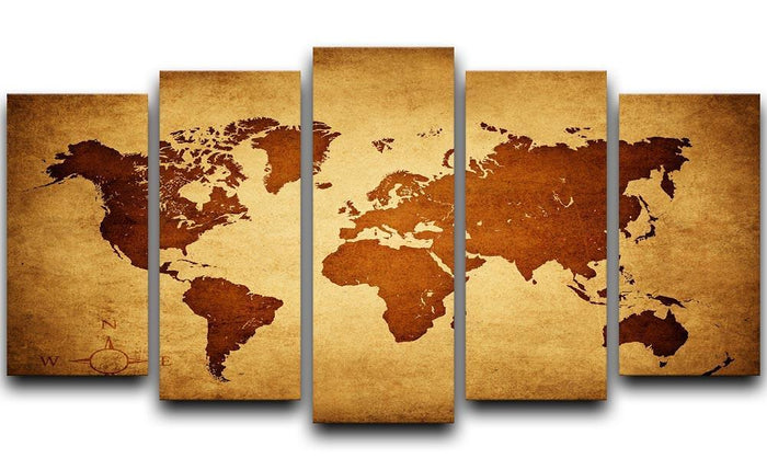 old map of the world 5 Split Panel Canvas