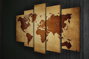 old map of the world 5 Split Panel Canvas  - Canvas Art Rocks - 2