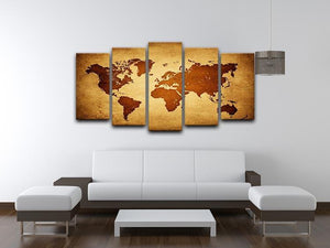 old map of the world 5 Split Panel Canvas  - Canvas Art Rocks - 3