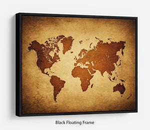 old map of the world Floating Frame Canvas