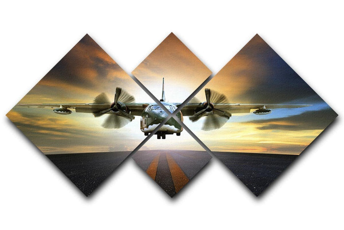 old military container plane 4 Square Multi Panel Canvas