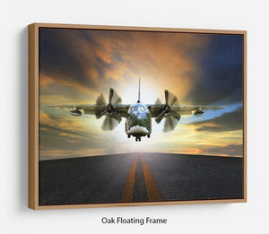 old military container plane Floating Frame Canvas