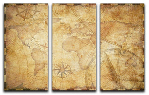 old nautical treasure map illustration 3 Split Panel Canvas Print - Canvas Art Rocks - 1