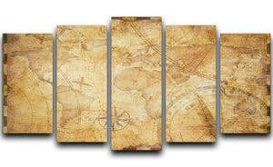 old nautical treasure map illustration 5 Split Panel Canvas  - Canvas Art Rocks - 1