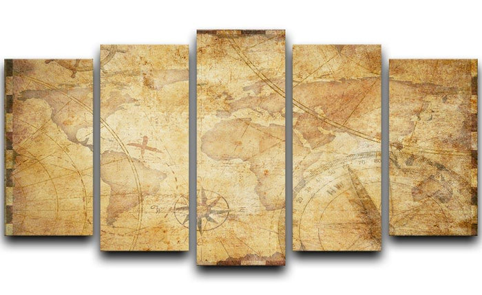old nautical treasure map illustration 5 Split Panel Canvas