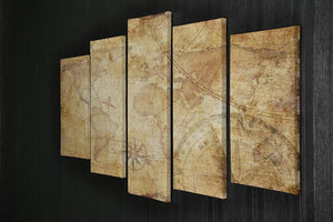 old nautical treasure map illustration 5 Split Panel Canvas  - Canvas Art Rocks - 2