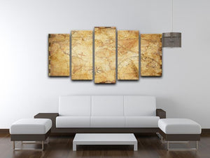 old nautical treasure map illustration 5 Split Panel Canvas  - Canvas Art Rocks - 3
