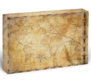 old nautical treasure map illustration Acrylic Block - Canvas Art Rocks - 1