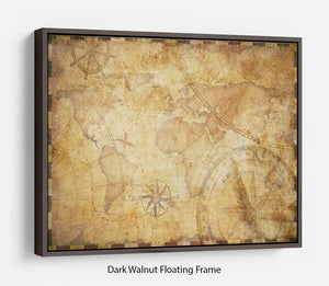 old nautical treasure map illustration Floating Frame Canvas