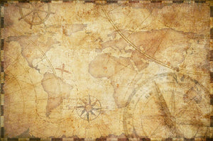 old nautical treasure map illustration Wall Mural Wallpaper - Canvas Art Rocks - 1