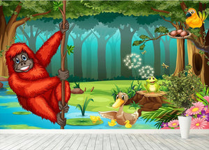 orangutan swinging in the jungle Wall Mural Wallpaper - Canvas Art Rocks - 4