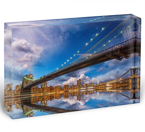 panoramic sunset with Brooklyn and Manhattan Bridge Acrylic Block - Canvas Art Rocks - 1