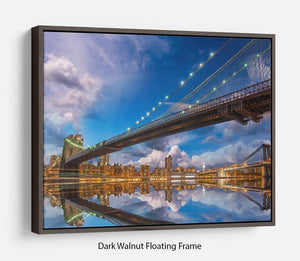 panoramic sunset with Brooklyn and Manhattan Bridge Floating Frame Canvas