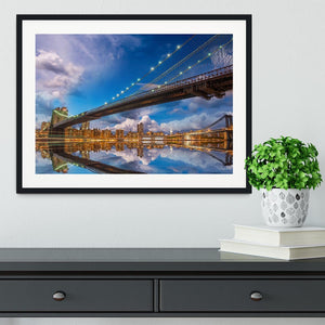 panoramic sunset with Brooklyn and Manhattan Bridge Framed Print - Canvas Art Rocks - 1