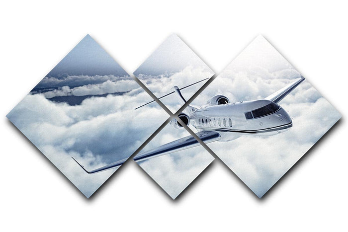 private jet flying over the earth 4 Square Multi Panel Canvas