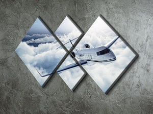 private jet flying over the earth 4 Square Multi Panel Canvas  - Canvas Art Rocks - 2