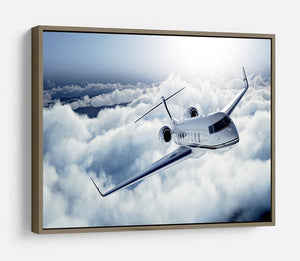 private jet flying over the earth HD Metal Print
