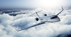 private jet flying over the earth Wall Mural Wallpaper - Canvas Art Rocks - 1