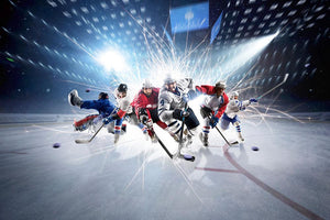 professional hockey players in action Wall Mural Wallpaper - Canvas Art Rocks - 1