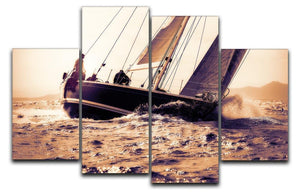 sail boat sailing on sunset 4 Split Panel Canvas  - Canvas Art Rocks - 1