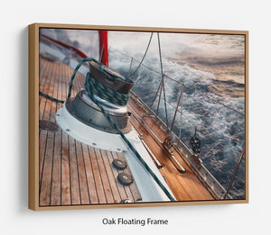 sail boat under the storm Floating Frame Canvas