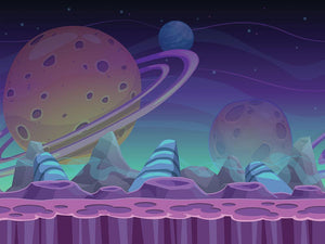 seamless alien landscape Wall Mural Wallpaper - Canvas Art Rocks - 1