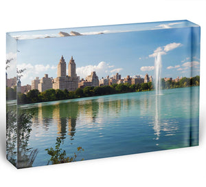 skyline with skyscrapers and trees lake reflection Acrylic Block - Canvas Art Rocks - 1