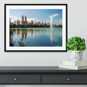 skyline with skyscrapers and trees lake reflection Framed Print - Canvas Art Rocks - 1