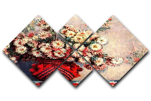 still life chrysanthemums 4 Square Multi Panel Canvas  - Canvas Art Rocks - 1