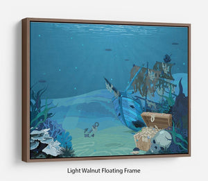 sunken sailboat on seabed background Floating Frame Canvas