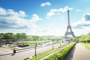 sunny morning and Eiffel Towe Wall Mural Wallpaper - Canvas Art Rocks - 1