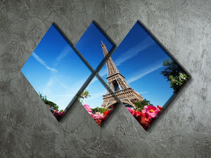 sunny morning flowers and Eiffel Tower 4 Square Multi Panel Canvas  - Canvas Art Rocks - 2