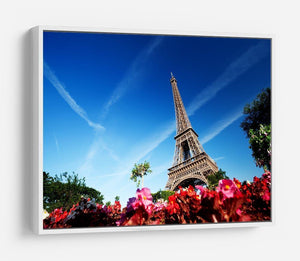 sunny morning flowers and Eiffel Tower HD Metal Print