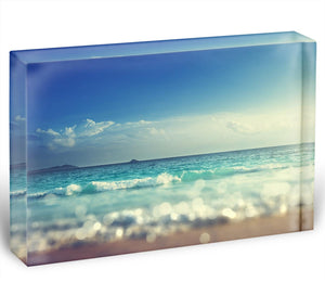 sunset time tilt shift soft Acrylic Block - Canvas Art Rocks - 1