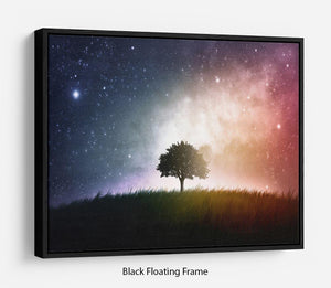 tree in a field with beautiful space background Floating Frame Canvas