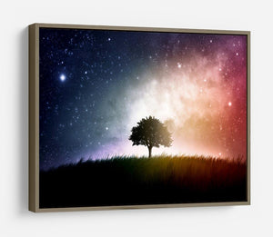 tree in a field with beautiful space background HD Metal Print