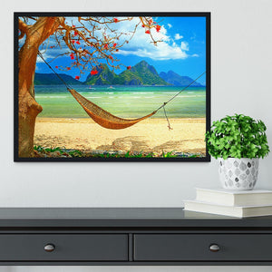 tropical beach scene with hammock Framed Print - Canvas Art Rocks - 2